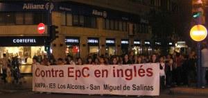 La comunidad escolar del IES Los Alcores en la protesta de Alicante
