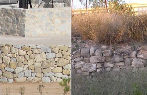 Las piedras del andén no son del mismo tipo ni geometria y su colocación en obra es totalmente distinta