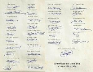 ALUMNADO DE 4º DE EGB EN EL CURSO 1983/1984